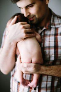 portland doula dad with newborn baby